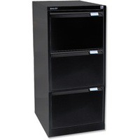 Bisley 3-Drawer Filing Cabinet Lockable Black Flush Fronted BS3E