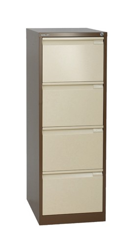 Bisley 4-Drawer Filing Cabinet Lockable Coffee/Cream Flush Fronted BS4E