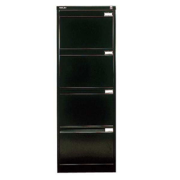 Bisley 4-Drawer Filing Cabinet Lockable Black Flush Fronted BS4E