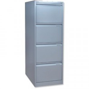 Bisley 4-Drawer Filing Cabinet Lockable Goose Grey Flush Fronted BS4E