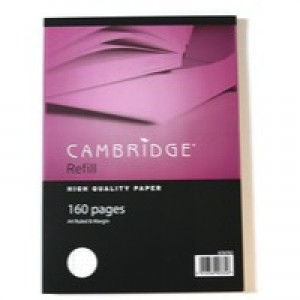 Cambridge Refill Pad Sidebound Ruled Margin Punched 4 Holes 70gsm 200pp A4 Ref 100080143 [Pack 5]
