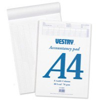 Vestry Accountancy Pad A4 8-Column CV2064