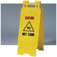 Folding Safety Sign Caution Wet Floor Yellow PS123-WET