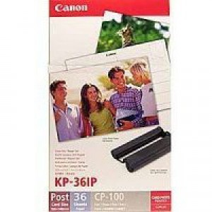 Canon Selphy Inkjet Cartridge CMY and Papers 100x148mm Pack of 36 Sheets KP-36IP 7737A001AB