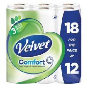 Triple Velvet Toilet Roll Pack of 18 White
