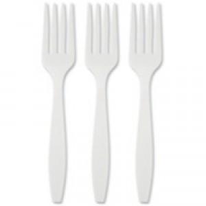 Plastic Fork White Pack of 100