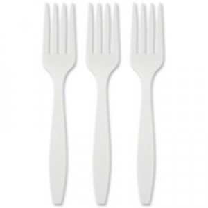 Plastic Fork White Pack of 100