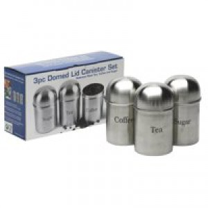 Kitchen Canisters Set of 3 Silver Stainless Steel (Pack of 1) KZOCS