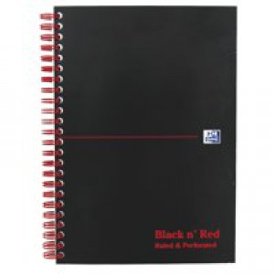 Black n Red Notebook Soft Cover Wirebound Perforated 90gsm Ruled 100 Pages A5 Code 846350151