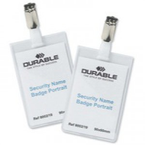 Durable Name Badge 90x60mm Security Fastener Pack of 25 8002