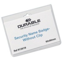 Durable Security Badge No Clip 60x90mm Pack of 20 8135/19