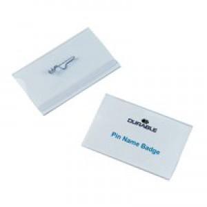 Durable Name Badge 40x75mm Pin Fastener Pack of 100 8008