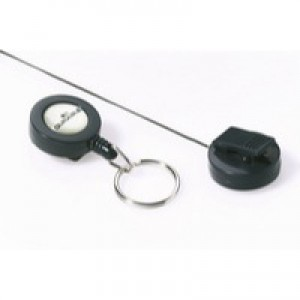 Durable Badge Reel Keyring Charcoal Pack of 10 8222/58
