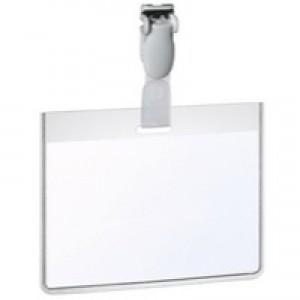 Durable Name Badge 60x90mm Security Fastener Landscape Pack of 25 8143/19