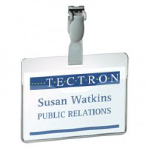 Durable Visitor Name Badge 60x90mm Clear Pack of 25 8147/19