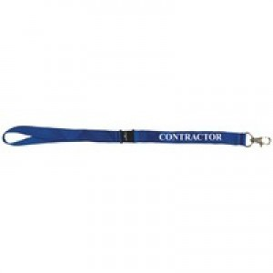 Durable Necklace Textile Printed ^Contractor^ with Safety Closure Blue Ref 999107996 [Pack 10]