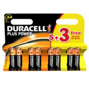 Duracell Plus Power Alkaline Battery AA 1.5V Pk 8