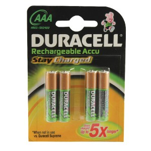 Duracell Stay Charged 4xAAA Rechargable Batteries Code 75071747