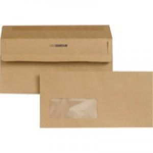 New Guardian Envelopes Lightweight Wallet Press Seal Window 80gsm Manilla DL [Pack 1000]