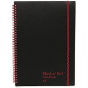 Black n Red Notebook Wirebound Polypropylene 90gsm Ruled 140 Pages A4 Code 846350111