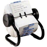 Rolodex Classic 500 Rotary File Metal Open with 500 57x102mm Cards 178x159x133mm Black Ref 66704