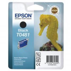 Epson T0481 Inkjet Cartridge Seahorse Page Life 550pp Black Ref C13T04814010