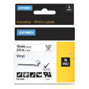 Dymo Rhino Vinyl Tape 19mm Black/White18445