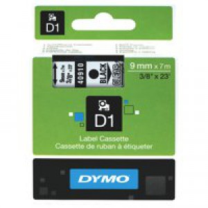 Dymo 1000/5000 Tape 9mm x7 Metres Black/Clear 40910 S0720670