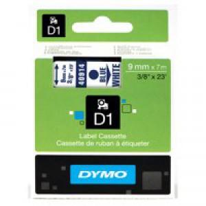 Dymo 1000/5000 Tape 9mm x7 Metres Blue/White 40914 S0720690