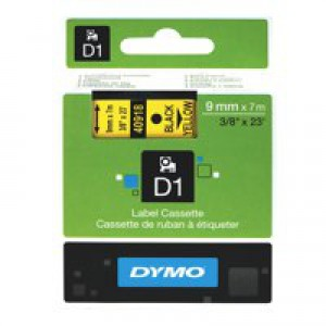 Dymo 1000/5000 Tape 9mm x7m Black/Yellow 40918 S0720730