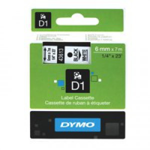 Dymo 1000/5000 Tape 6mm x7 Metres Black/White 43613 S0720780