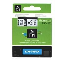 Dymo 1000/5000 Tape 6mm x7 Metres Black/White 43613 S0720780