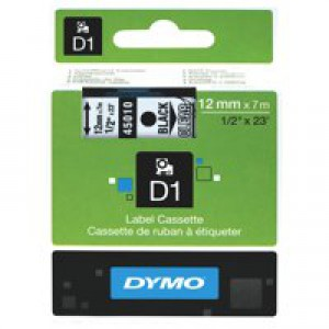 Dymo D1 Tape for Electronic Labelmakers 12mmx7m Black on Clear Ref 45010 S0720500