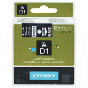 Dymo 1000/5000 Tape 12mm x7 Metres White/Black 45021 S0720610