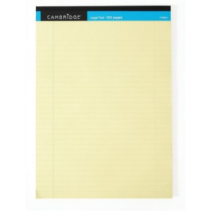 Cambridge Legal Pad Perforated Tear-off Feint Ruled with Margin 100pp A4 Yellow Ref 100080179 [Pack 10]