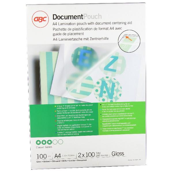 Acco GBC Laminating Pouch A4 200micron Clear Pk 100 3740306