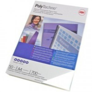 GBC PolyCovers Techno Binding Covers Polypropylene 700 micron A4 Ice White Ref IB387210 [Pack 50]