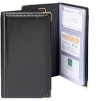 Image for Goldline Business Card Holder Deluxe Stitched Black Capacity 96 SBC3P/BLK