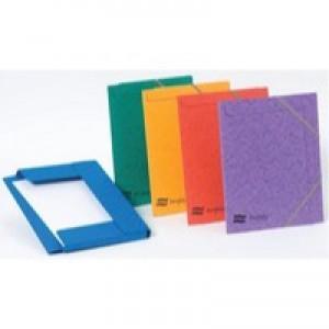 Europa Portfolio File A4 Pressed Board Elastic Straps Assorted Colour Pack 10 Code 4750