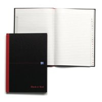 Black n Red Book Casebound 90gsm Ruled Indexed A-Z 192pp A5 Ref 100080491 [Pack 5]