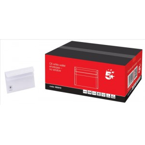5 Star Envelopes Wallet Press Seal 80gsm White C6 [Pack 1000]