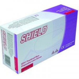 Shield Polypropylene Latex Gloves Blue Large Pack of 100 GD41