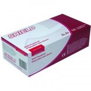 Shield Polypropylene Latex Gloves Medium Pack of 100 Natural GD45