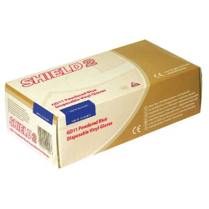 Shield Polypropylene Vinyl Gloves Blue Medium Pack of 100 GD11