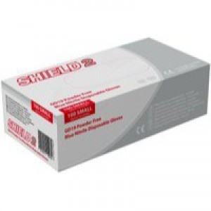 Shield Powder-Free Nitrile Gloves Blue Extra Large Pk 100 Gd19Xl