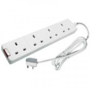 CED 4-Way Extension Lead 13amp 2 Metres Neon White CEDTS4213M