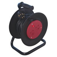 CED Heavy Duty 2-Gang Extension Reel 13amp 25 Metres Black WCR252