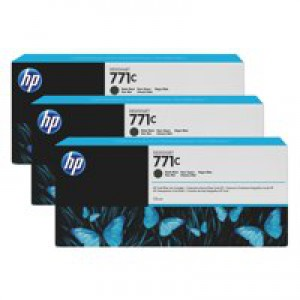 HP 771C Matte Black Deskjet Inkjet Cartridge  packed with 775ml of HP Vivid Photo ink (Pack of 3).