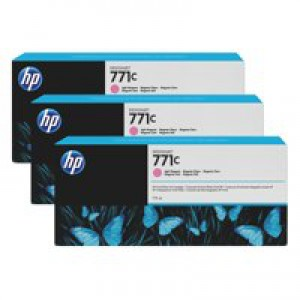 HP 771C Light Magenta Deskjet Inkjet Cartridge  packed with 775ml of HP Vivid Photo ink (Pack of 3).