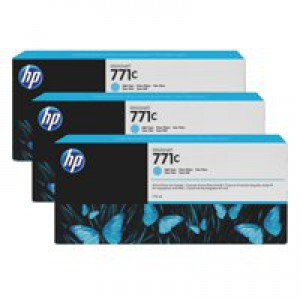 HP 771C Light Cyan Deskjet Inkjet Cartridge  packed with 775ml of HP Vivid Photo ink (Pack of 3).